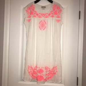 White with pink embroidery Ariat dress sz. S